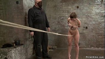 Villein receives crotch rope on hogtie