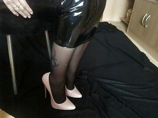 Hot woman in pvc hobble petticoat
