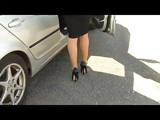 Outlandish stiletto shoes with hobble petticoat